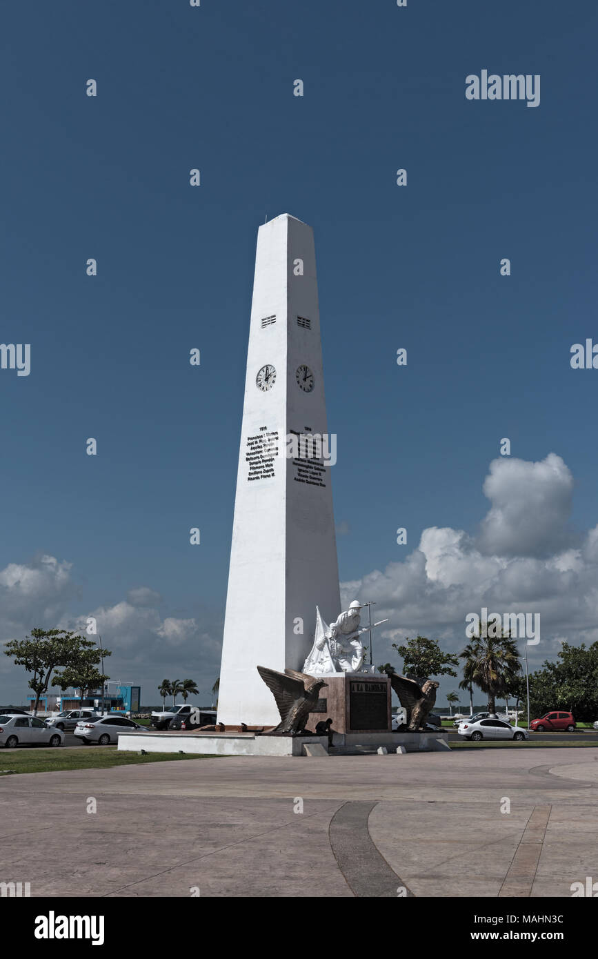 Banner promenade, flag monument at the Malecon in Chetumal, Quintana Roo, Mexico - Stock Image