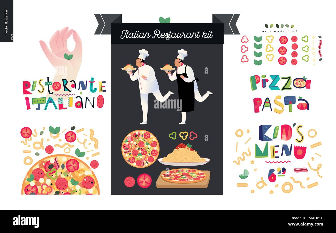 Italian Restaurant Set Branding Logo And Menu Constructor Kit Of Restaurant Logo Cooks And Waiters Wearing The Uniform Holding A Dish Of Pasta W Stock Vector Image Art Alamy
