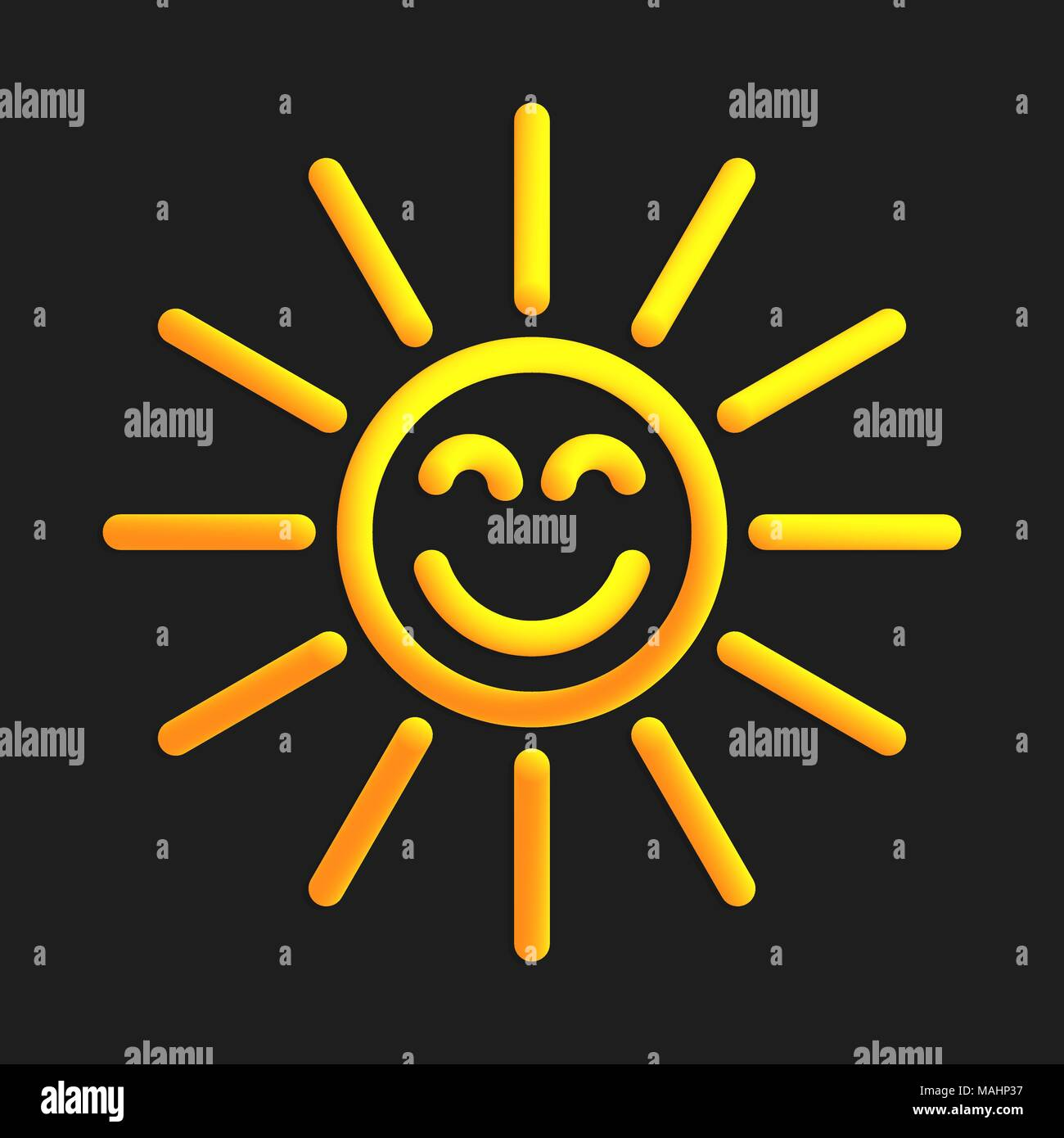 Sun with straight rays in 3d style. Vector illustration of yellow sun with liquid effect of gradient color in volumetric style. Isolated object with s - Stock Vector