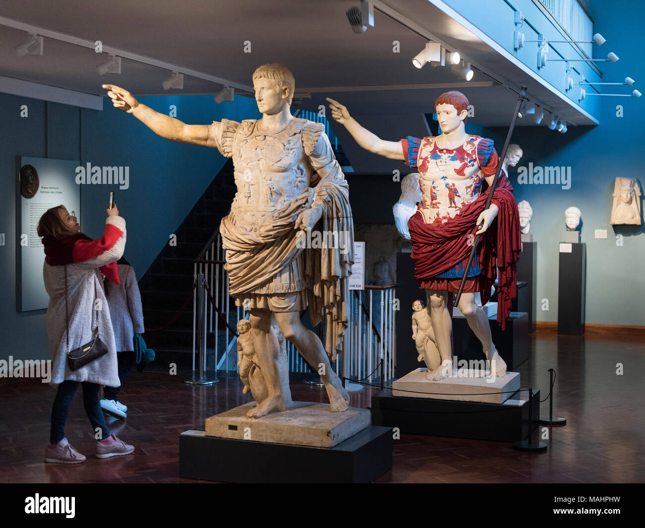 Oxford. England. Painted plaster cast copy of the statue of Roman Emperor Augustus of Prima Porta. Ashmolean Museum.  In this reconstruction, the orig - Stock Image