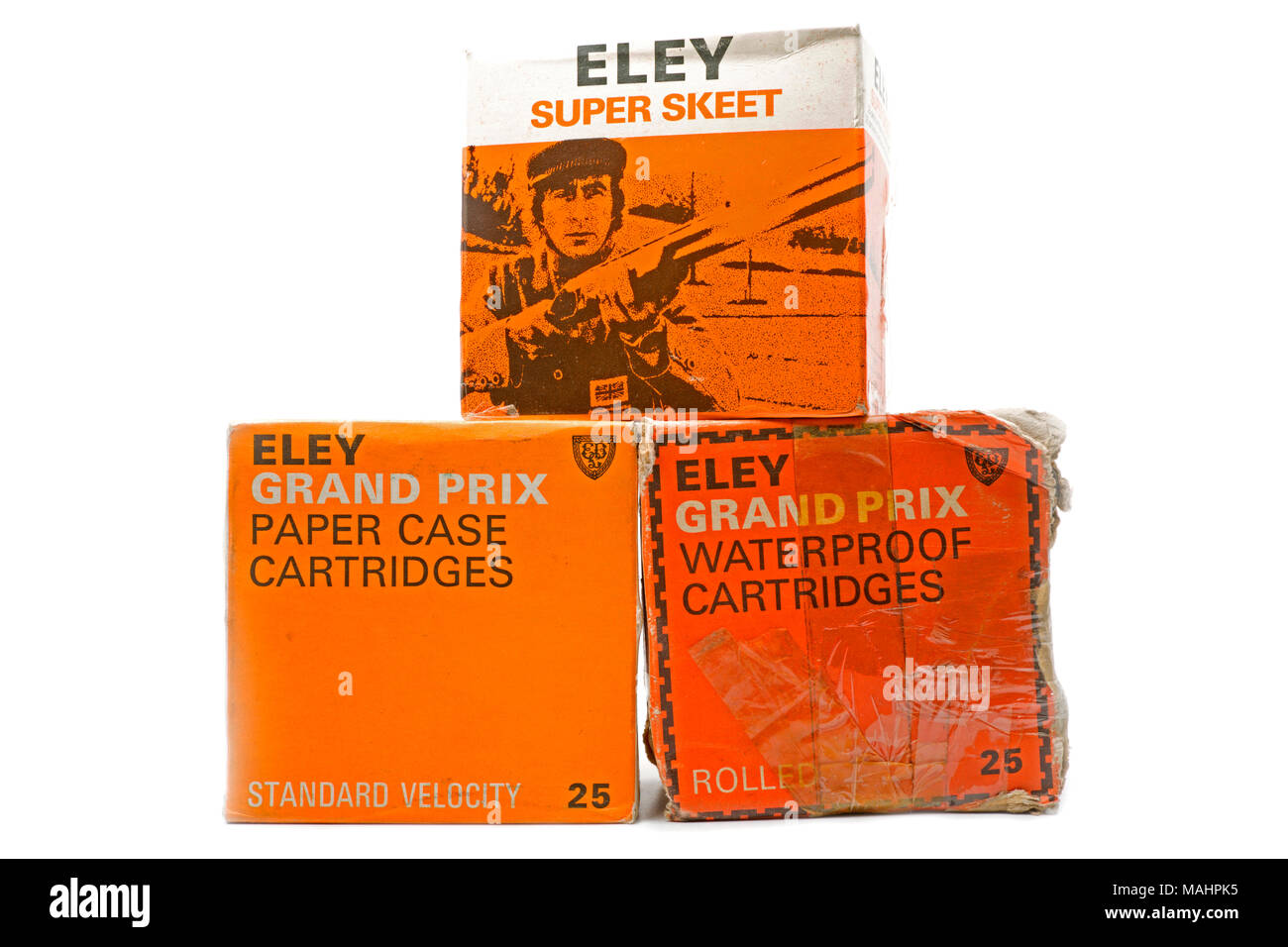 Three old Eley cartridge boxes, the top one featuring Sir Jackie Stewart OBE. UK - Stock Image