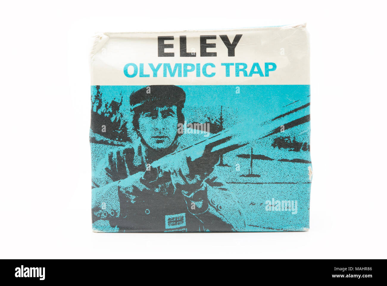 An old Eley Olympic Trap cartridge box featuring Sir Jackie Stewart OBE. UK - Stock Image