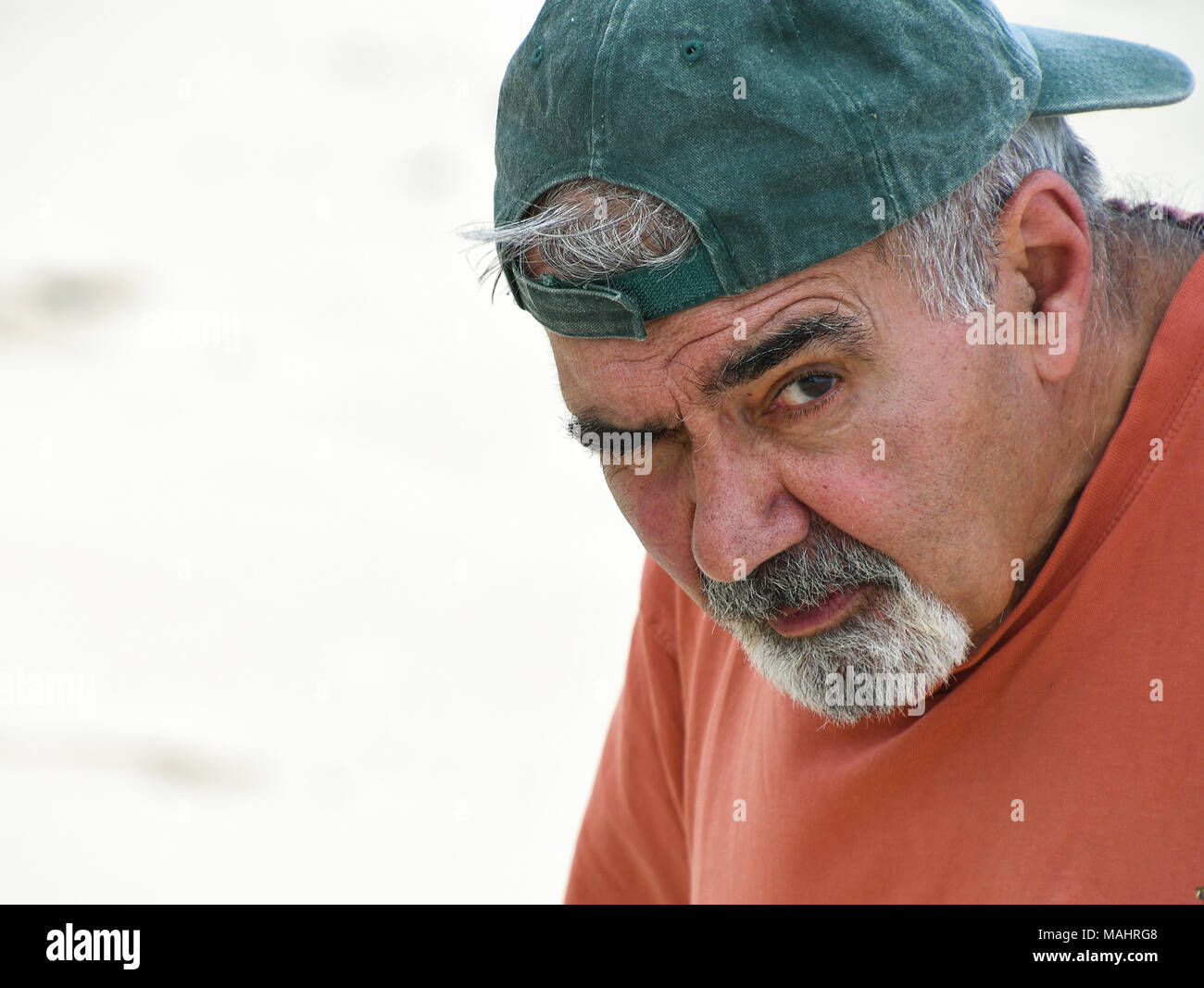 Portrait Of Elderly Lebanese Man With Gray Mustache And Goatee Wearing Baseball Cap Backwards Stock Photo Alamy