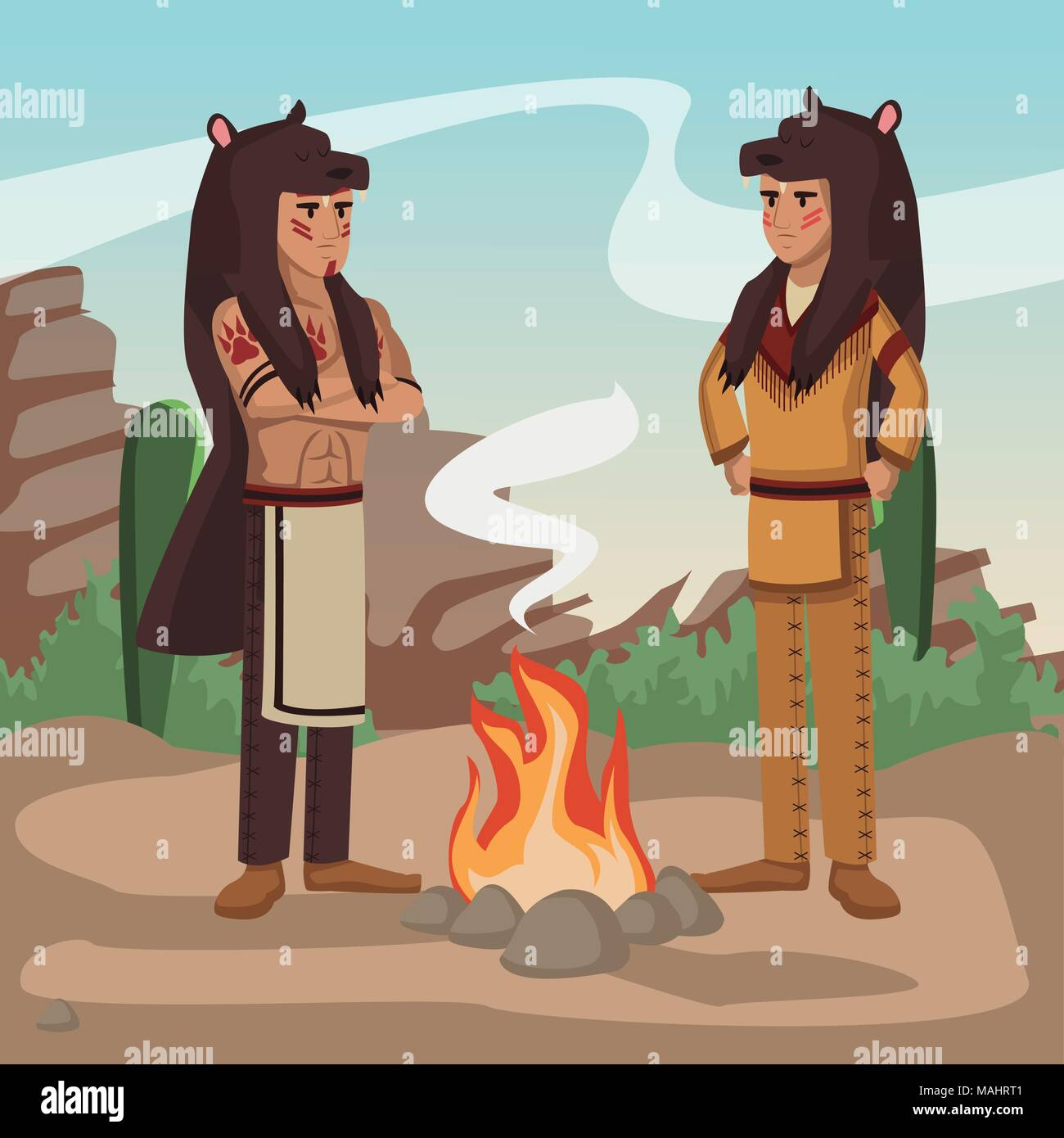 American indian warriors at village Stock Vector