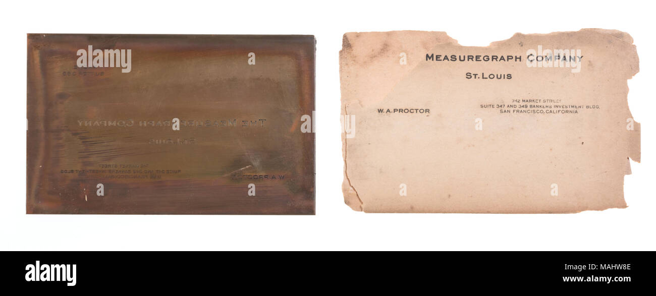 Engraved copper printing plate for a business card of wa proctor engraved copper printing plate for a business card of wa proctor with the measuregraph company reheart Images
