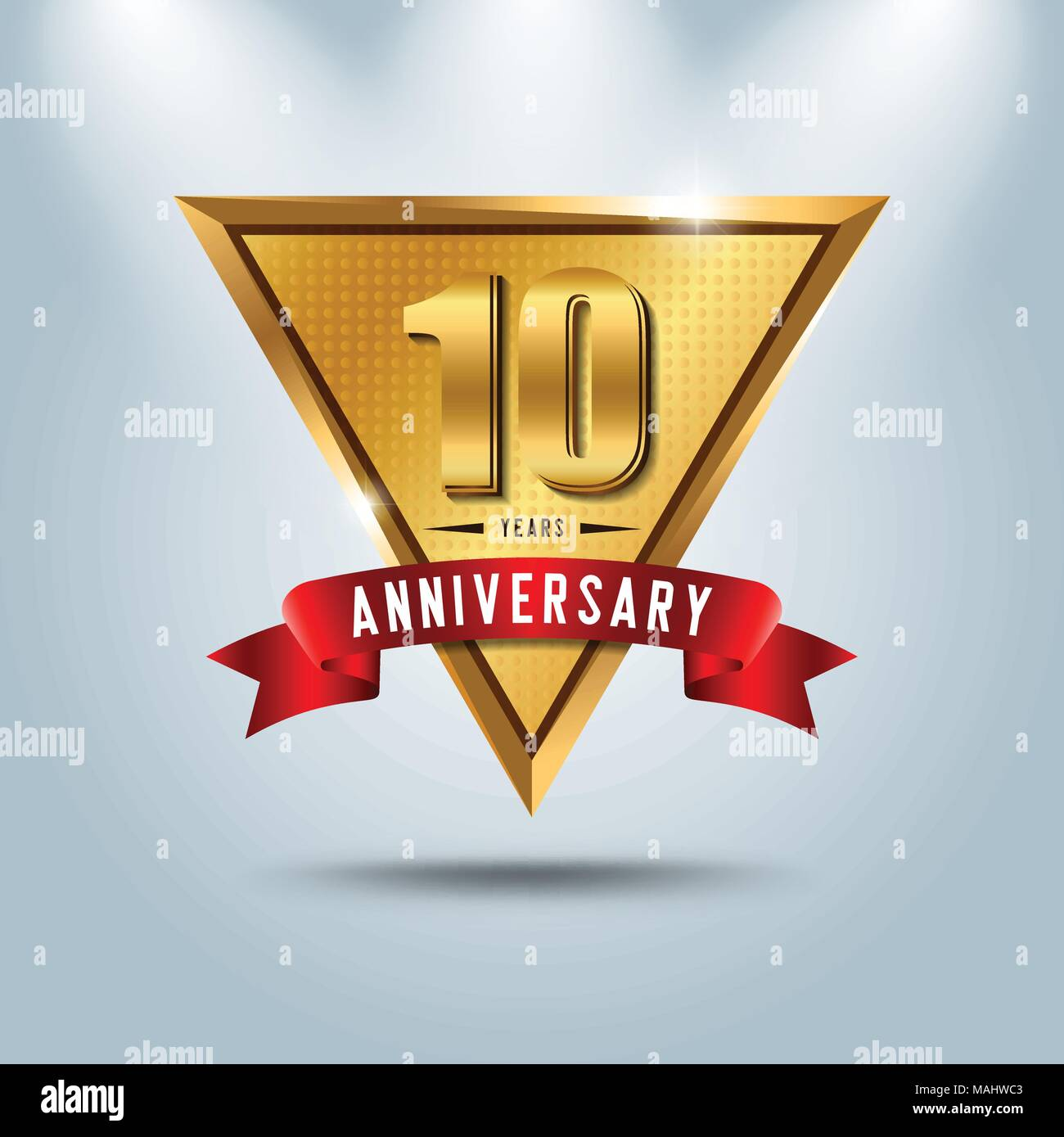 Ten symbol years anniversary logo stock photos ten symbol years 10 years anniversary celebration logotype golden anniversary emblem with red ribbon design for booklet biocorpaavc Images
