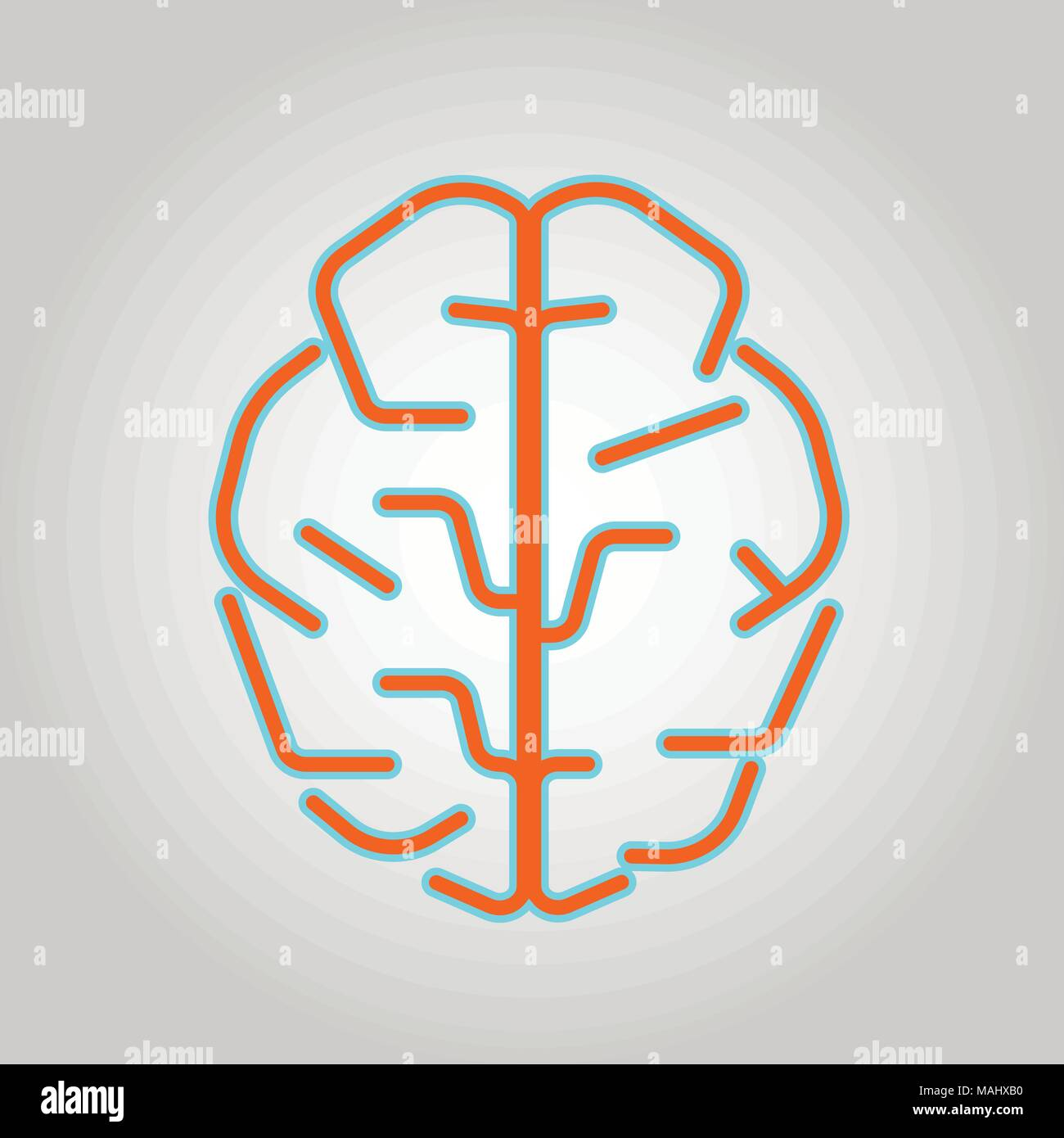 Brain Logo silhouette top view design vector template. Brainstorm think idea Logotype concept icon. - Stock Image