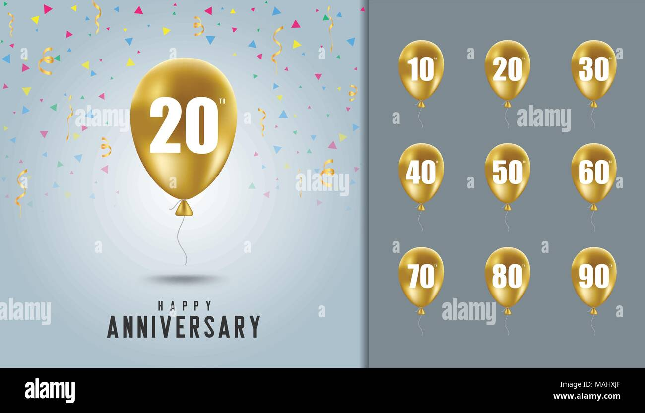 Set of happy anniversary background. Golden balloon with anniversary celebration background. Design template for booklet, leaflet, magazine, brochure  - Stock Vector