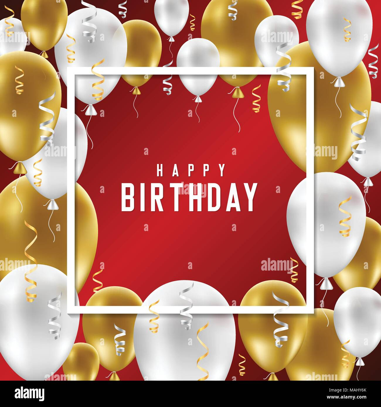 Happy Birthday Greeting Card With Golden And White Balloons On Red Background Vector Illustration
