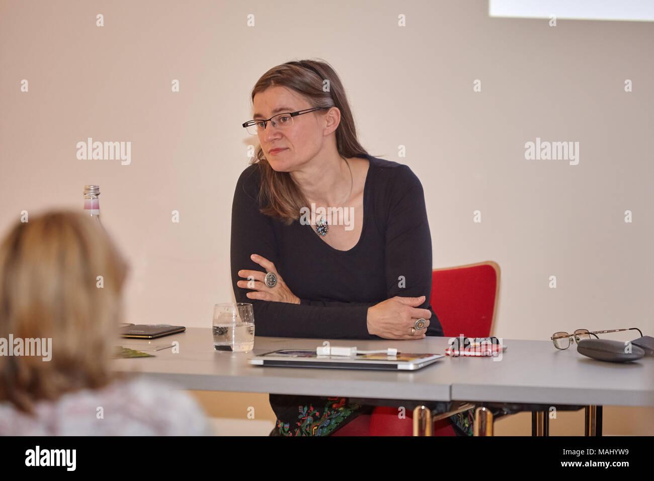 Anke Domscheit-Berg in Muencheberg. Topic: Der Wandel der Arbeitswelt: Welche Zukunft hat Arbeit? Welche Arbeit hat Zukunft? - Stock Image
