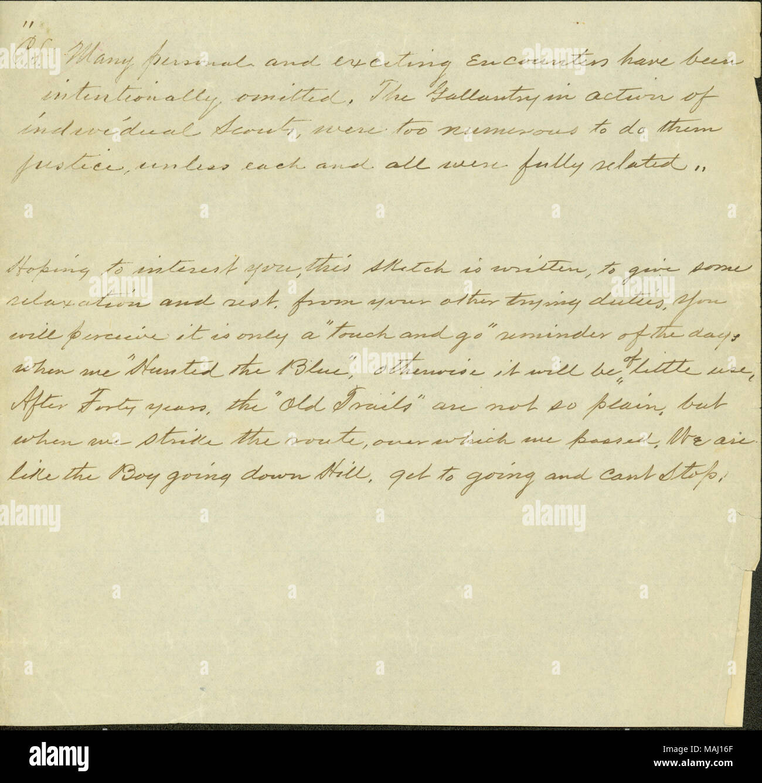 Title: Unsigned note of a a Confederate veteran regarding a reminiscence about the Civil War, ca. 1905  . circa 1905. - Stock Image