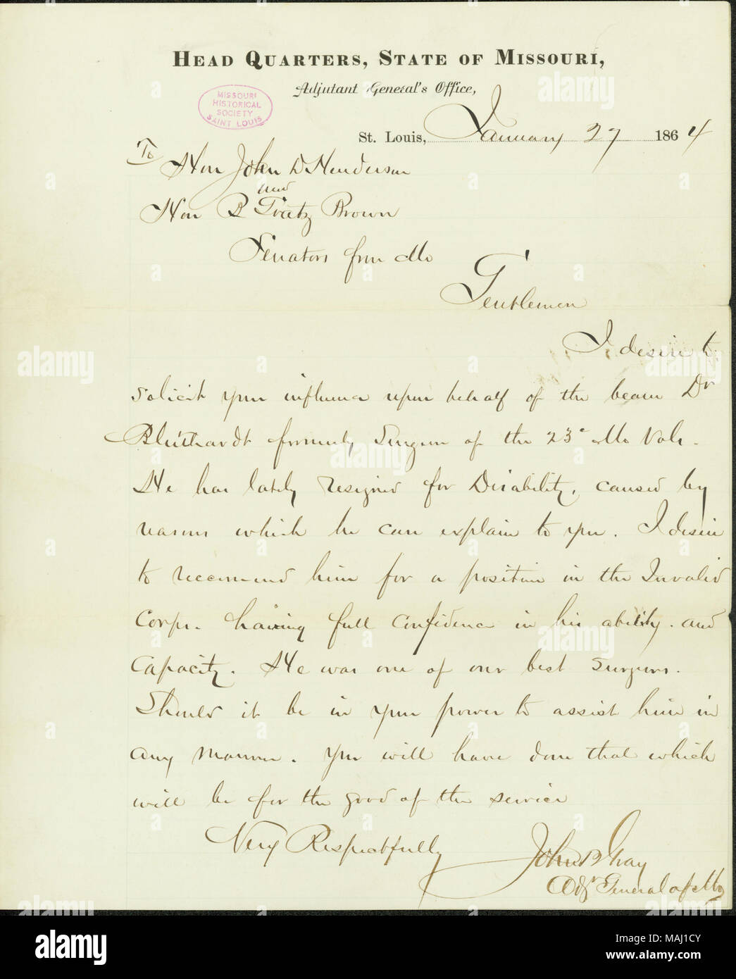 Solicits recommendations from henderson and brown for theodore j solicits recommendations from henderson and brown for theodore j bluthardts appointment in the invalid corps includes note on verso from henderson altavistaventures Choice Image