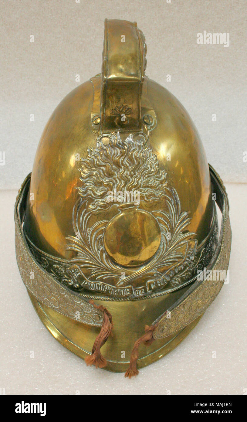 All brass French fireman\'s helmet in the Roman style belonging to ...