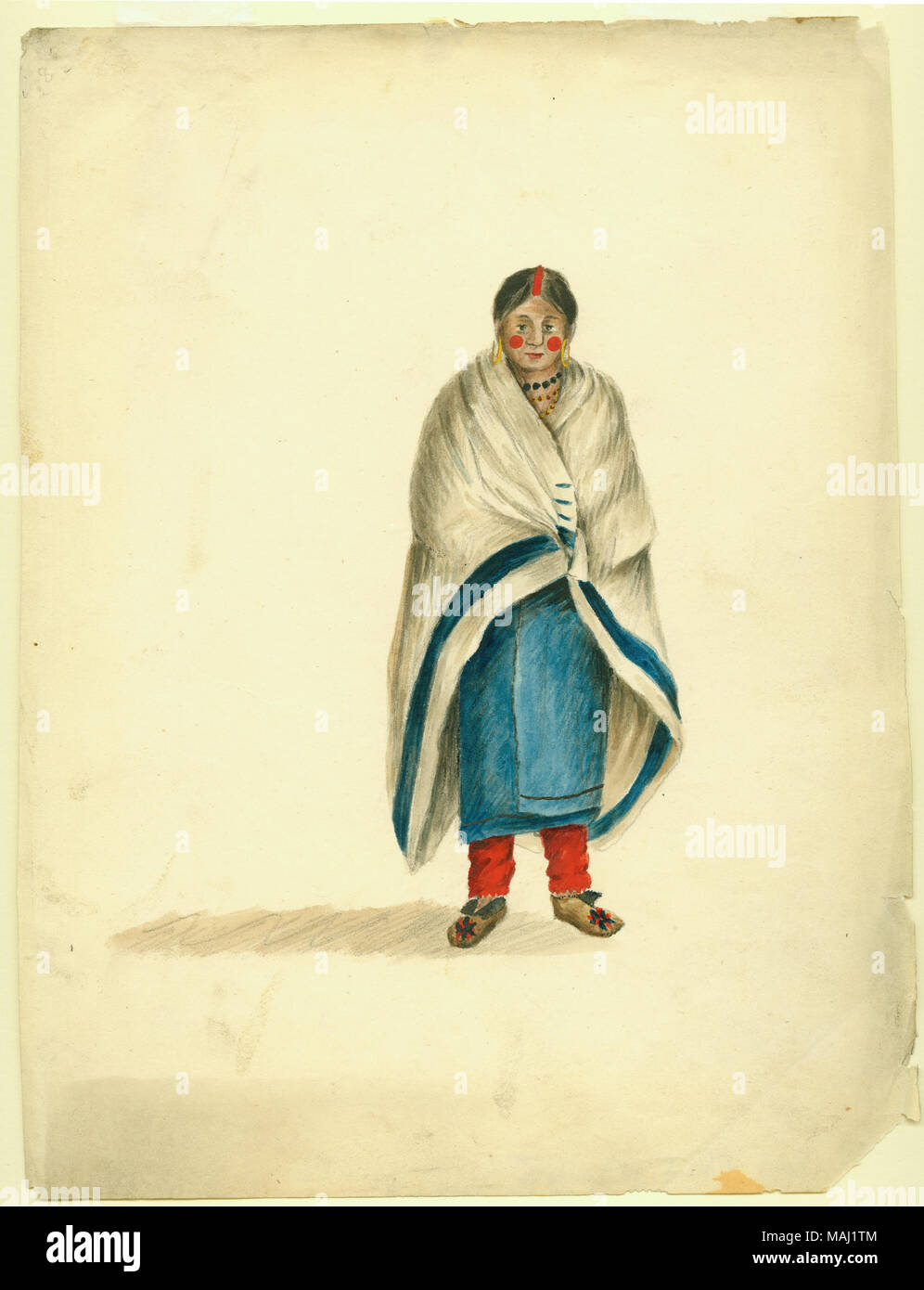 indian woman wearing red leggings with blue wrap and leather