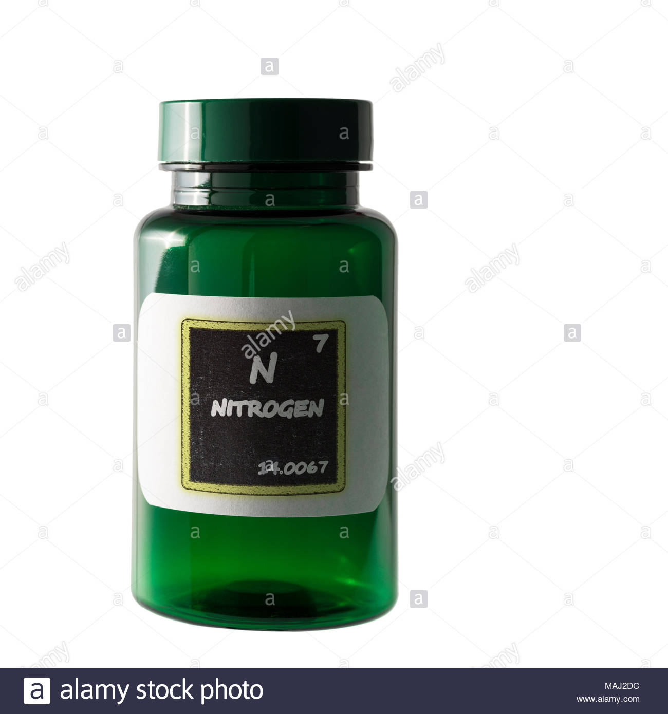 nitrogen periodic table details shown on bottle label stock image
