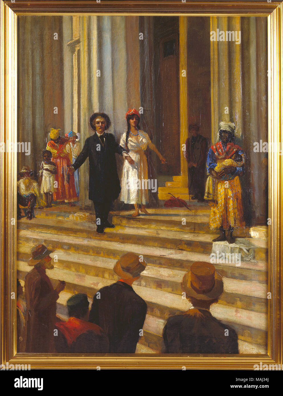 Painting of one of the last slave sales in St. Louis, based on a description from 'The Crisis,' a novel by St. Louisan Winston Churchill. Title: Painting of a Slave Sale in St. Louis  . 1908. M. Hermandez Arevalo - Stock Image
