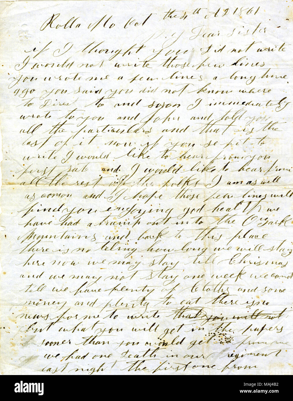 d7dfa81854 Transcription: Rolla Mo Oct the 4th AD 1861 Dear Sister If I thought you  Did not ...