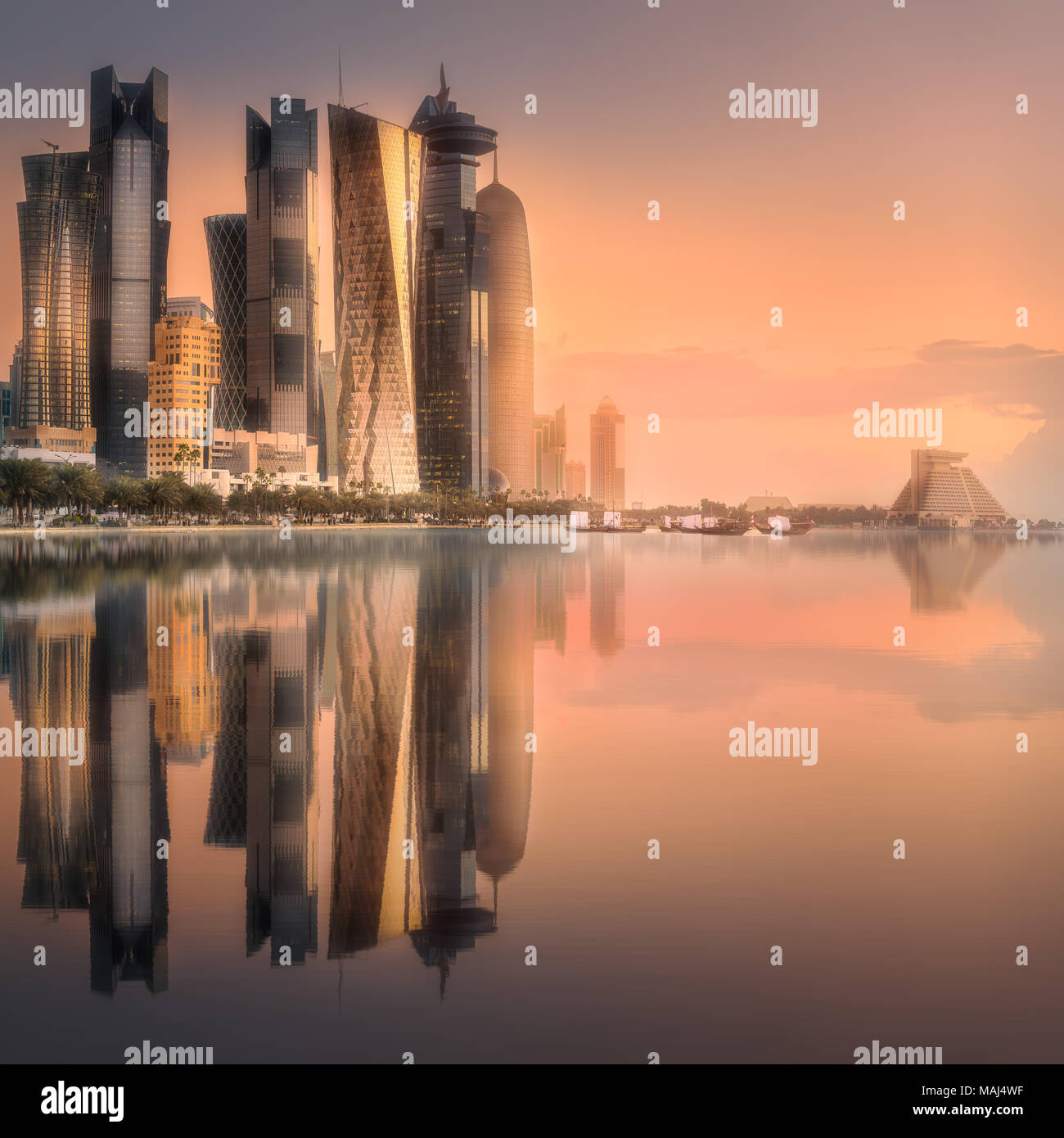 The skyline of West Bay and Doha downtown, Qatar Stock Photo