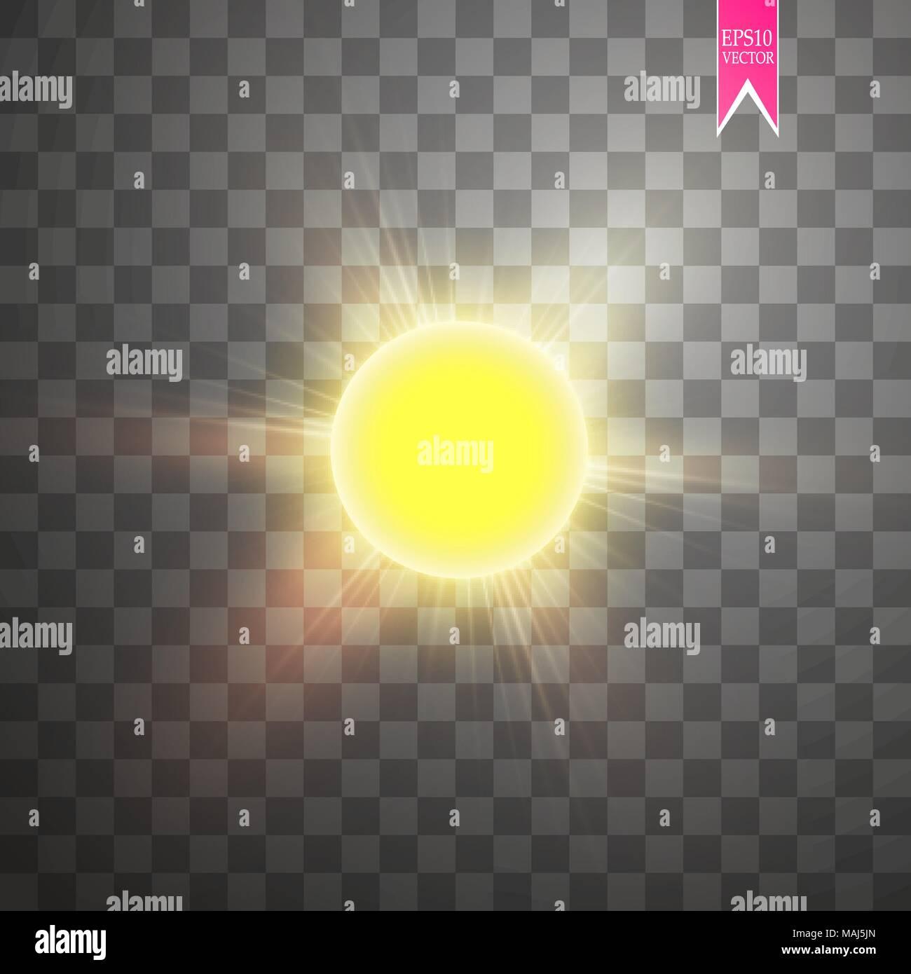 Vector modern sun set on sample background. sunshine design. 3 May International Day of the Sun. Eps10 - Stock Vector