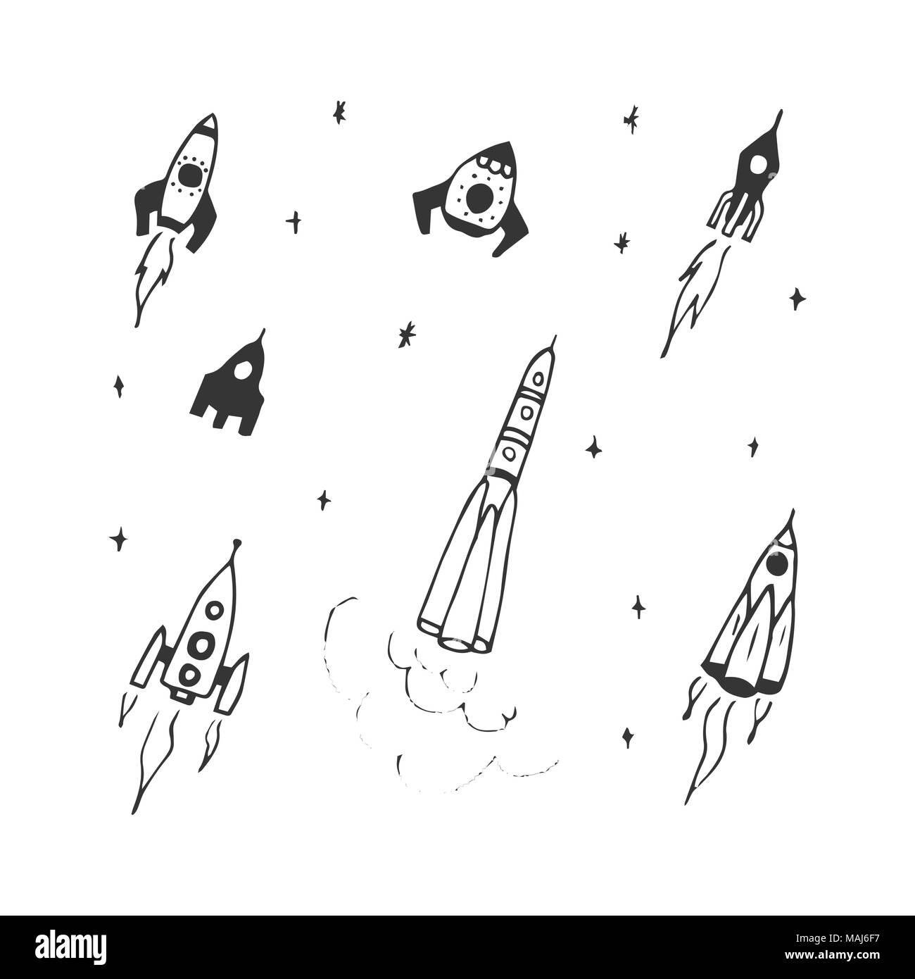 Vector set of hand drawn doodle rocket icon and rocket silhouette. Icon design rocket, spaceships, rocket ship - Stock Vector