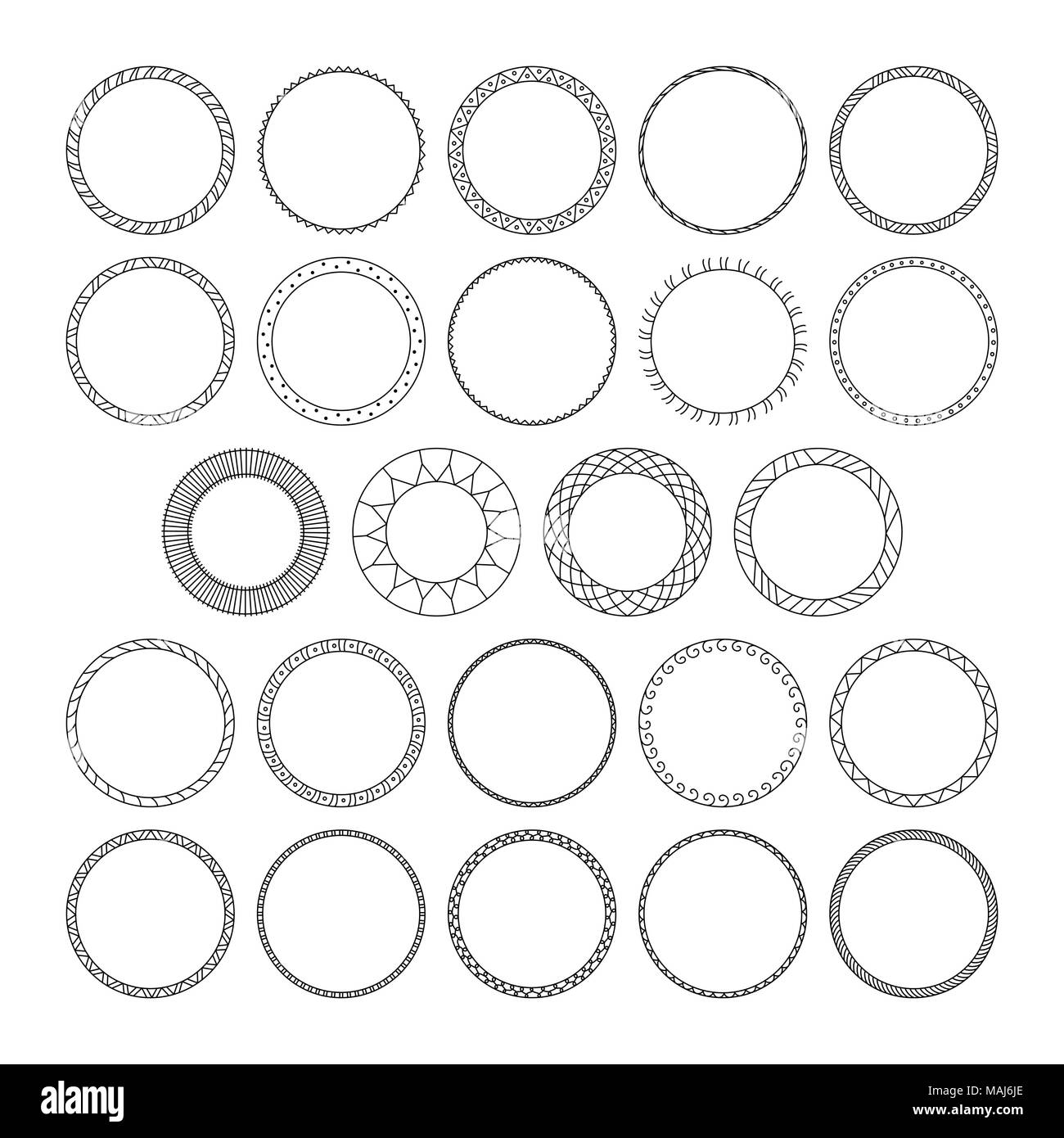 Download Vector Set Of Round And Circular Decorative Patterns For Design Frameworks And Banners Black Geometric Frame Stock Vector Image Art Alamy