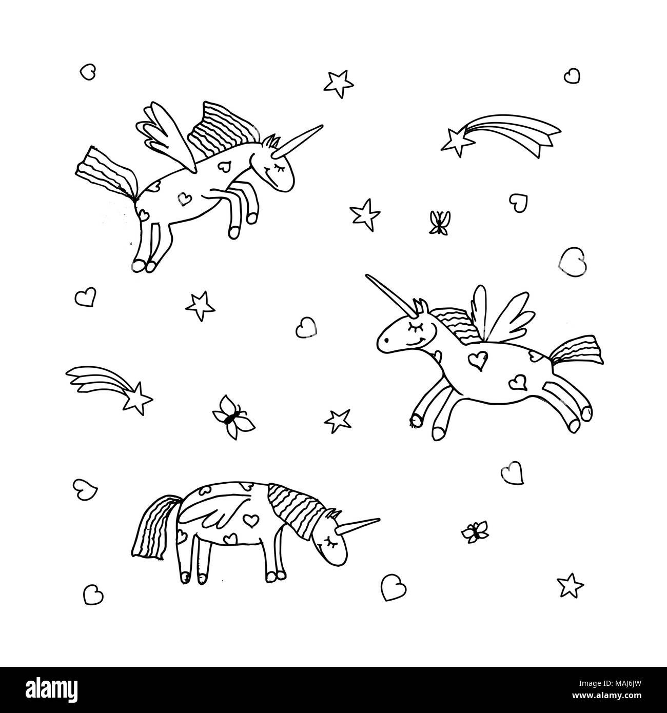 Vector Set Of Cute Cartoon Unicorn Illustration Of Unicorns