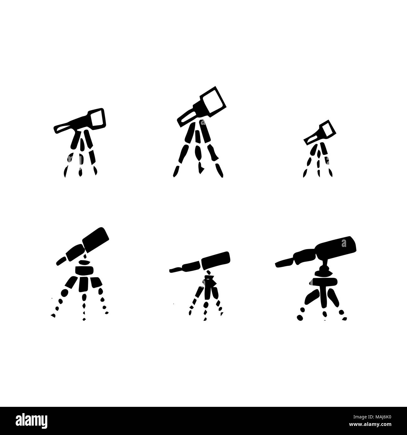 Vector set of hand drawing telescope. Sketch telescope. - Stock Image