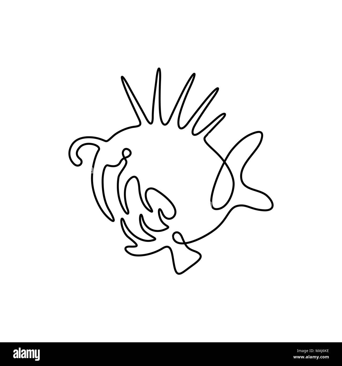 Vector continuous line drawing fish fish logo predator angler logotype one line art design