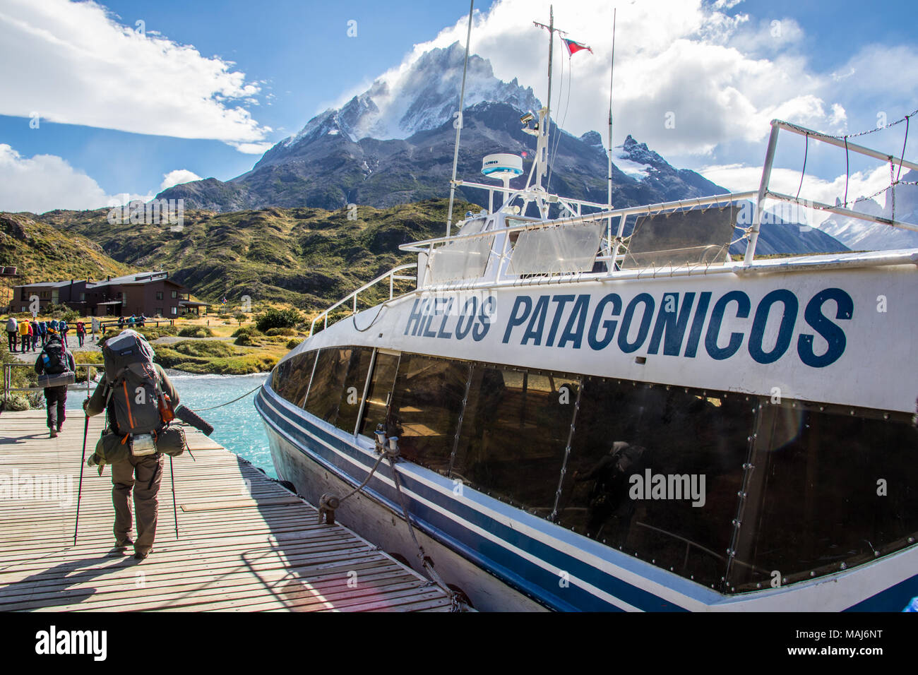 Hielos Patagonicos, Sightseeing boat on Lago Pehoe, Torres del Paine National Park, Patagonia, Chile - Stock Image