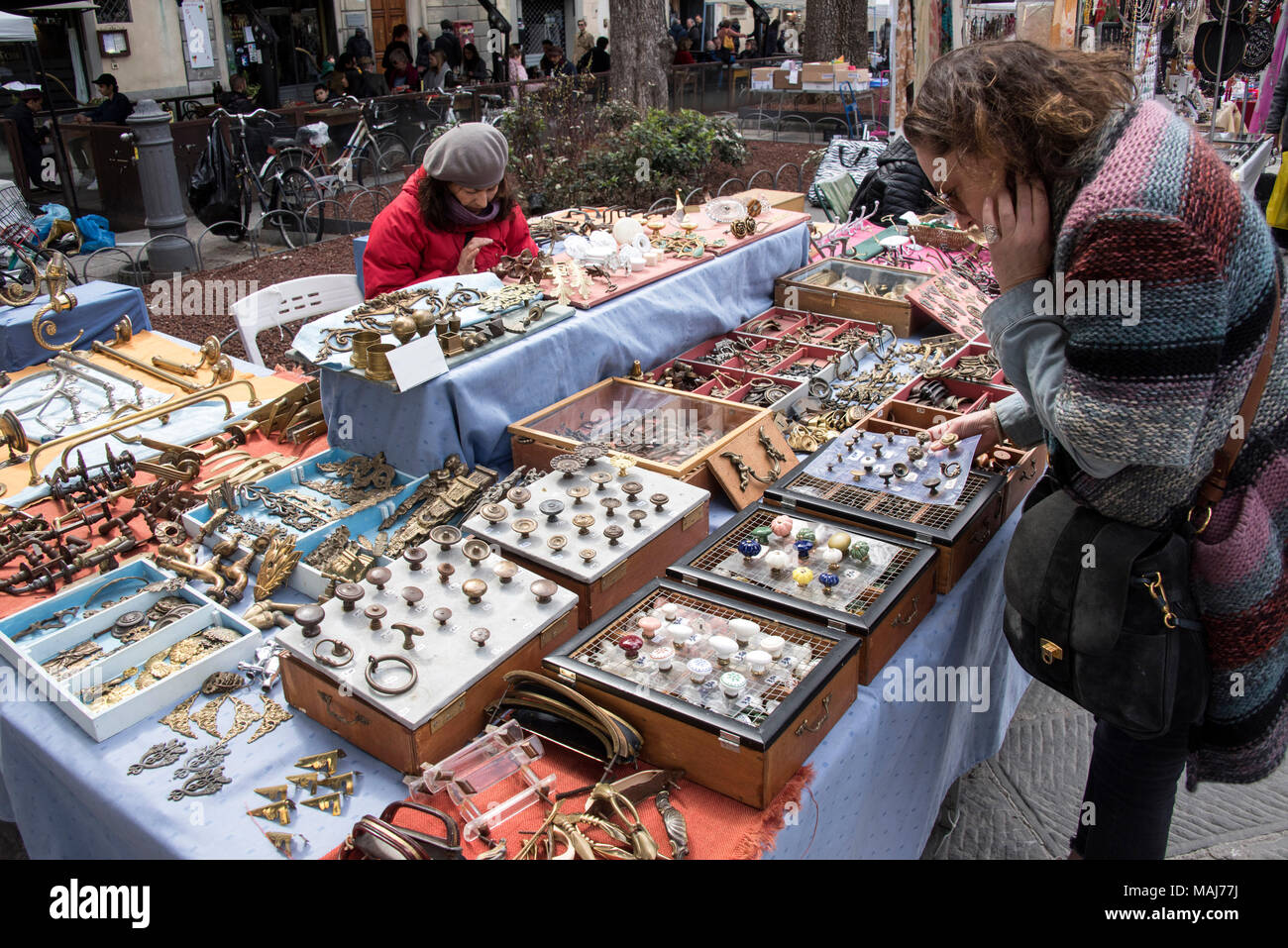 Market in Piazza Santo Spirito, Florence, Italy. - Stock Image