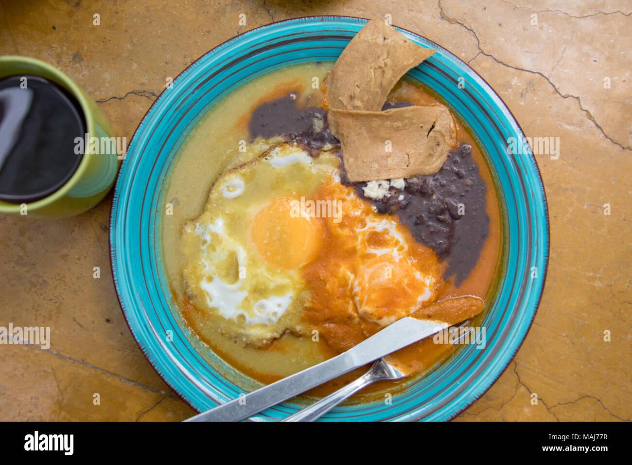 Huevos divorciados at Biznaga Arte Cafe, San Luis Potosi, Mexico - Stock Image