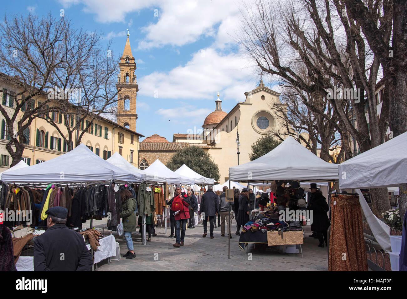 Piazza Santo Spirito Florence Italy. - Stock Image