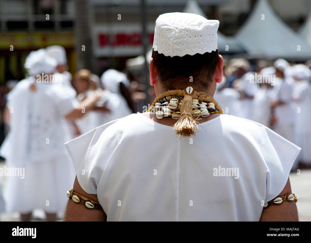 Campinas, SP Brazil - April 1 2018: practicioners of afro-brazilian religions perform a cleansing ritual during easter cerimonies Stock Photo
