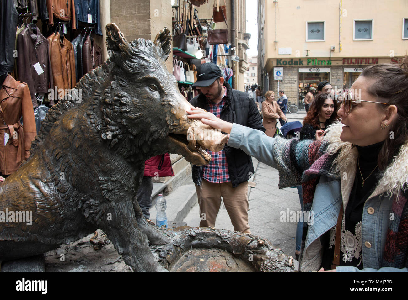 Bronze Statue of a boar in Florence, Italy. - Stock Image
