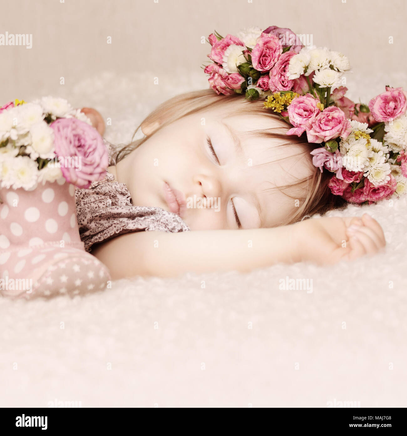 Sleeping Baby Girl In Flowers Beautiful Vintage Card Background Stock Photo Alamy