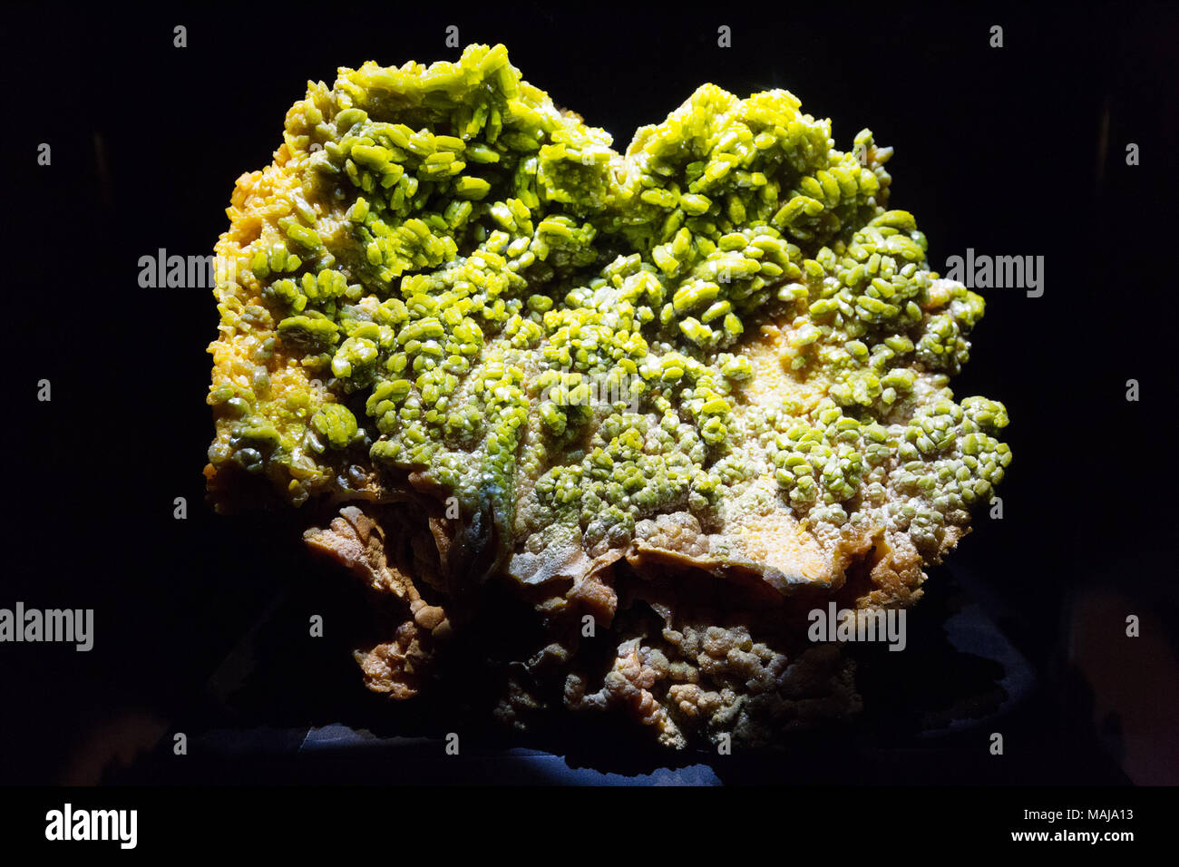 A specimen of the green mineral Pyromorphite, (Lead Chlorophosphate ). - Stock Image
