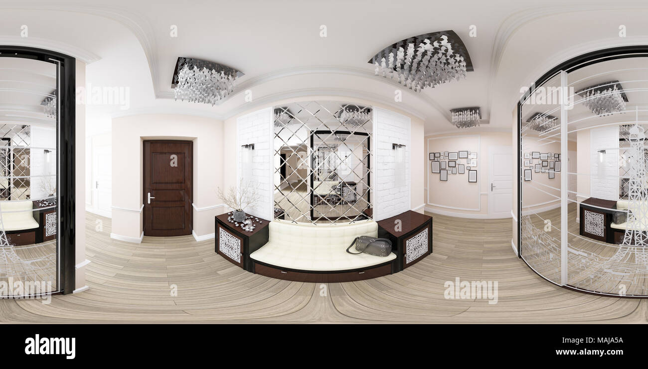 3d illustration spherical 360 degrees, seamless panorama of hallway ...
