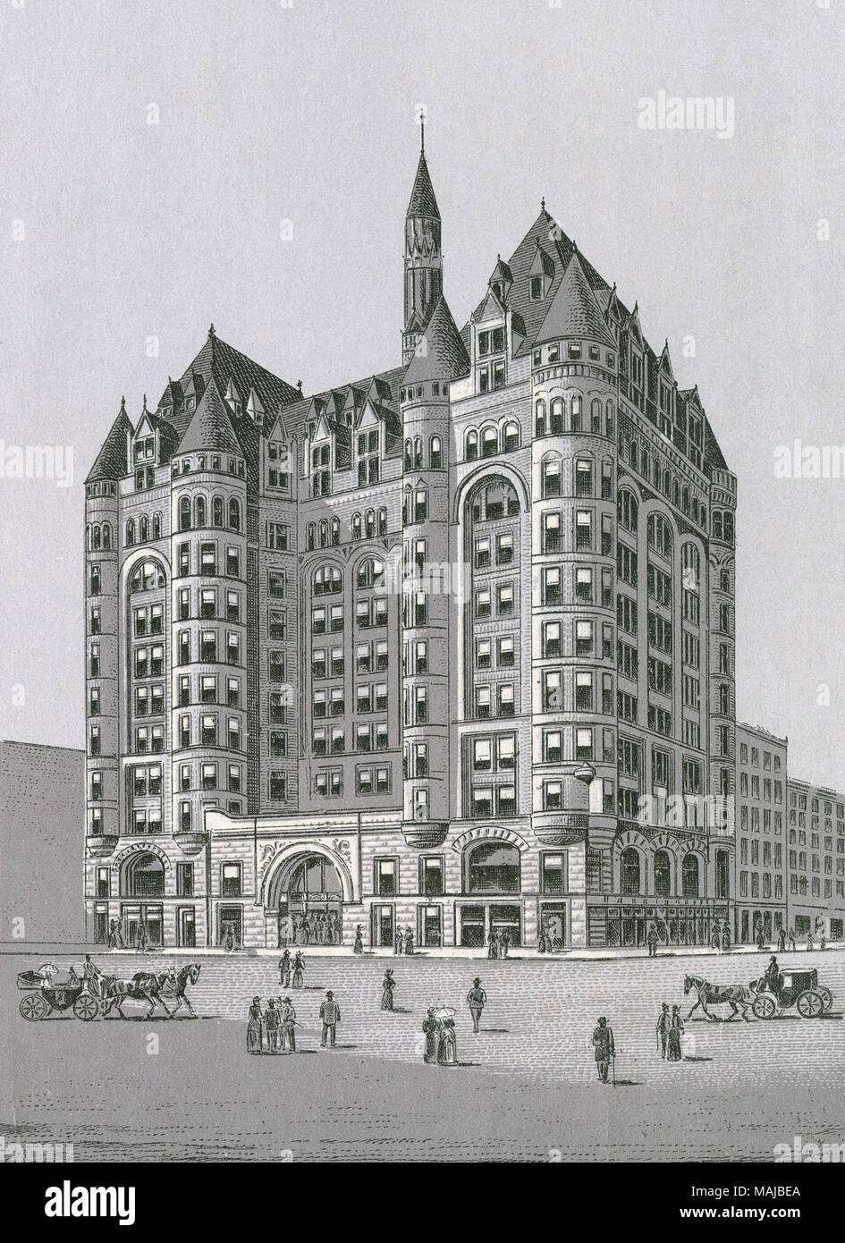 Antique c1890 monochromatic print from a souvenir album, showing the Woman's Temple building at the southwest corner of Monroe and LaSalle streets in Chicago, Illinois. Printed with the Glaser/Frey lithographic process, a multi-stone lithographic process developed in Germany. - Stock Image