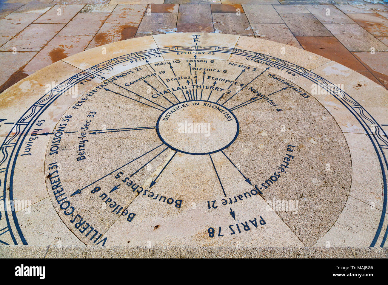 The Château-Thierry American Monument, directional indicator pointing to the relevant battle fields - Stock Image