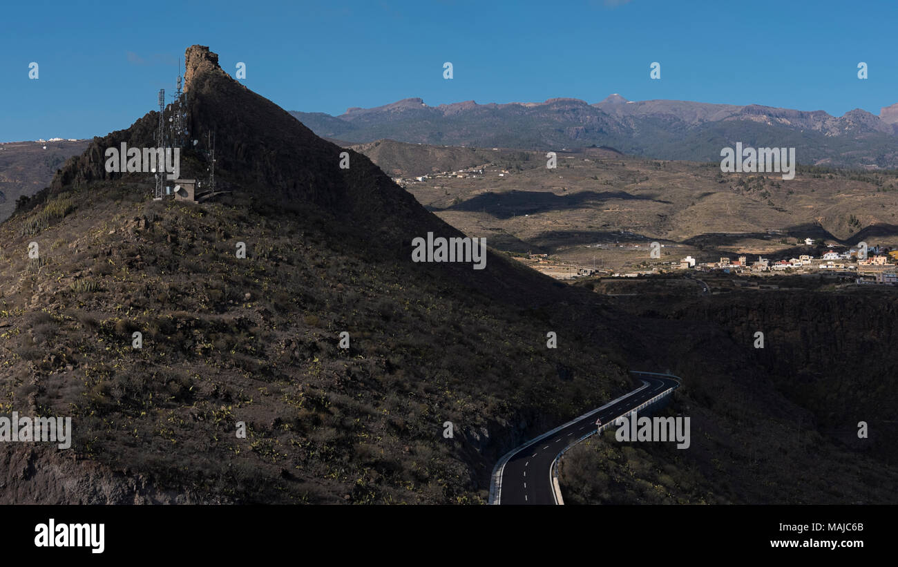 View towards north from the popular viewpoint El Mirador de Centinela, in San Miguel de Abona, Tenerife, Canary Islands, Spain - Stock Image