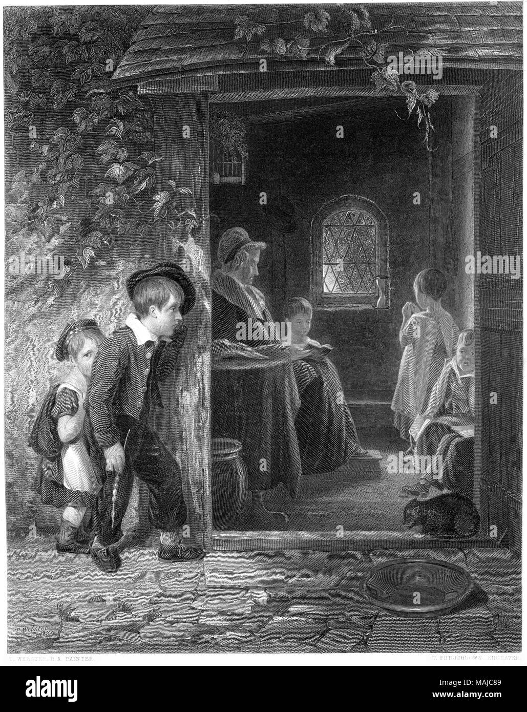 An engraving entitled The Truant from the picture by Thomas Webster in the Vernon Gallery scanned at high resolution from a book printed in 1849. - Stock Image