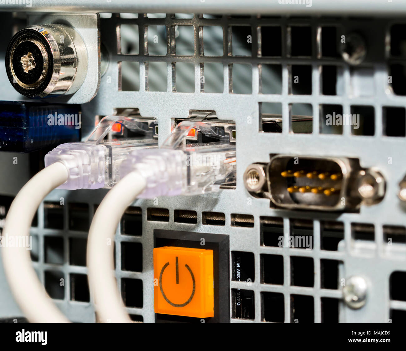 Network cables and servers in a technology data center  Network cables in switch Stock Photo