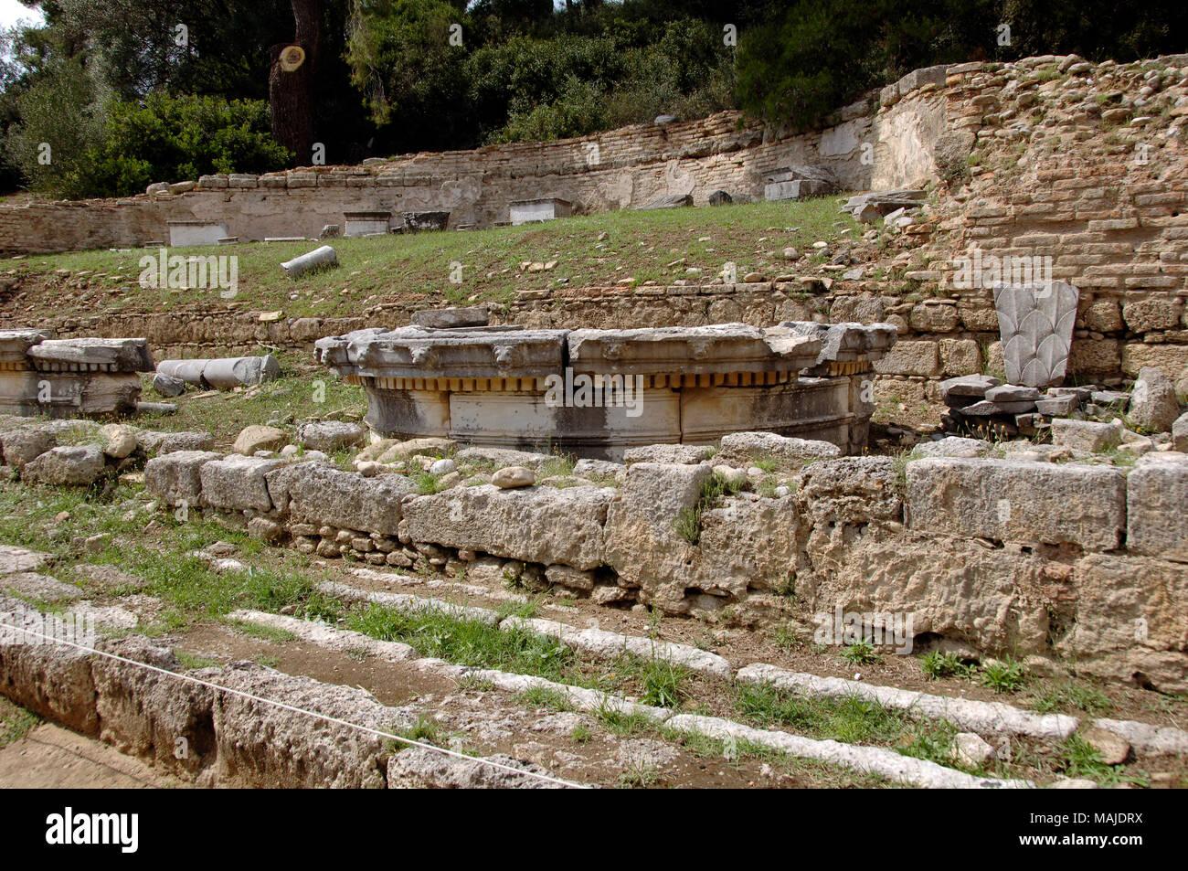 Greece. Olympia. Nymphaeum of Herodes Atticus.ca.160 AD. Roman period. View of ruins. Elis Region, Peloponnese. - Stock Image