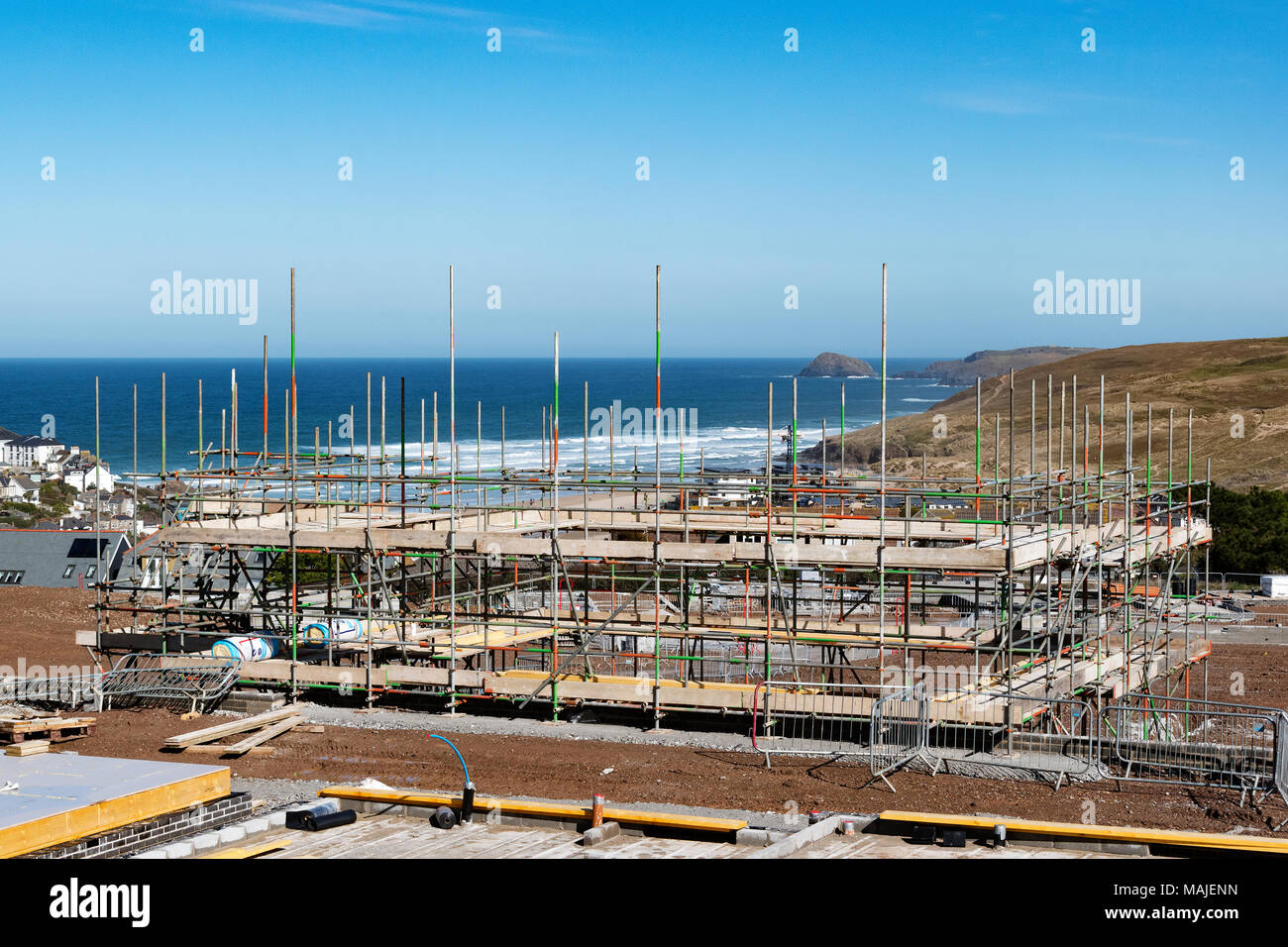 affordable housing project being built on a greenfield site in perranporth, cornwall, england, uk. - Stock Image