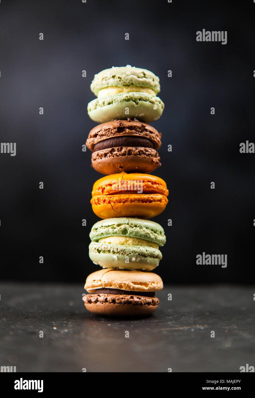 Assortment of macaron cookies - Stock Image