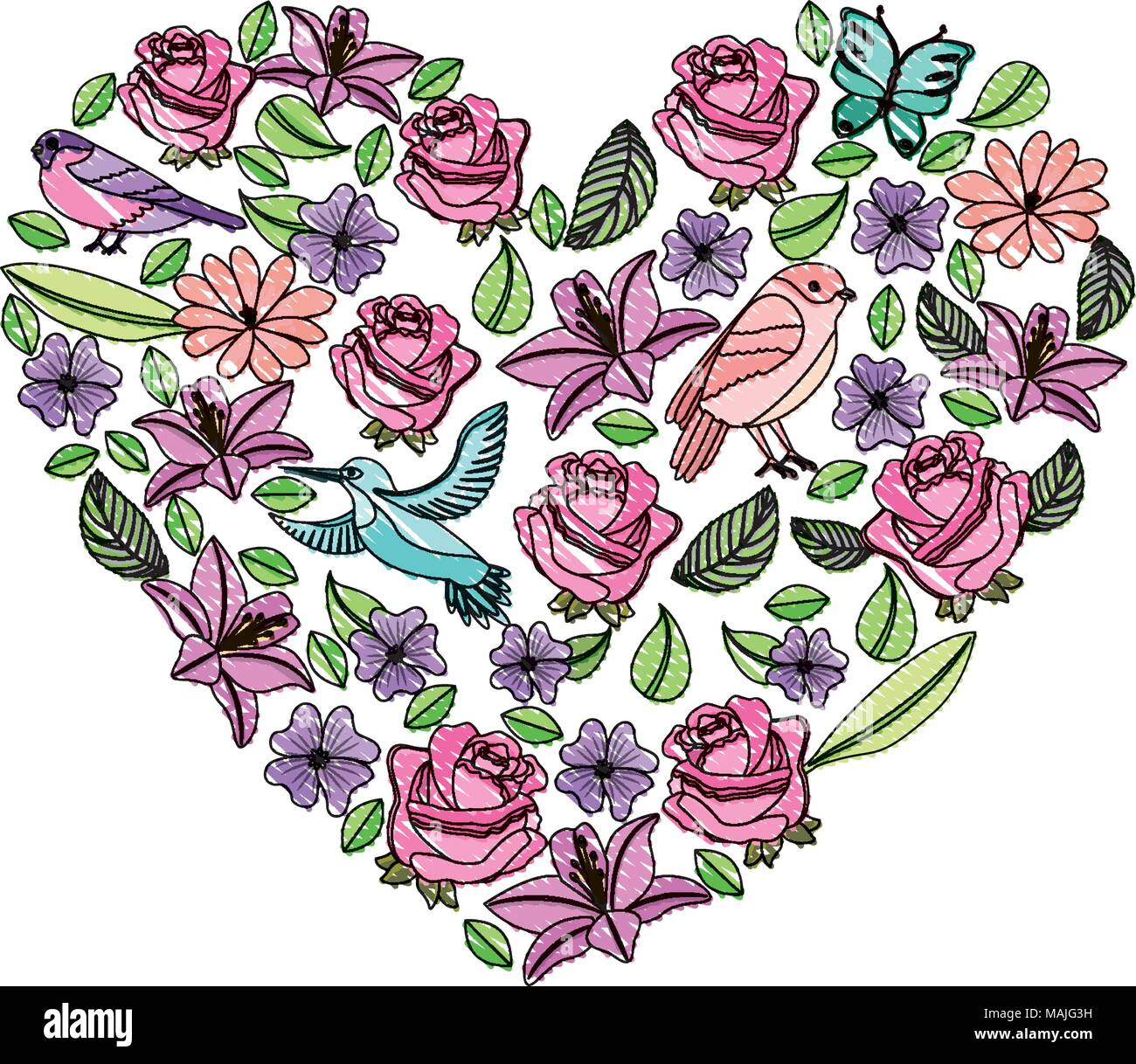 Flowers With Butterflies And Birds Pattern With Heart Shape