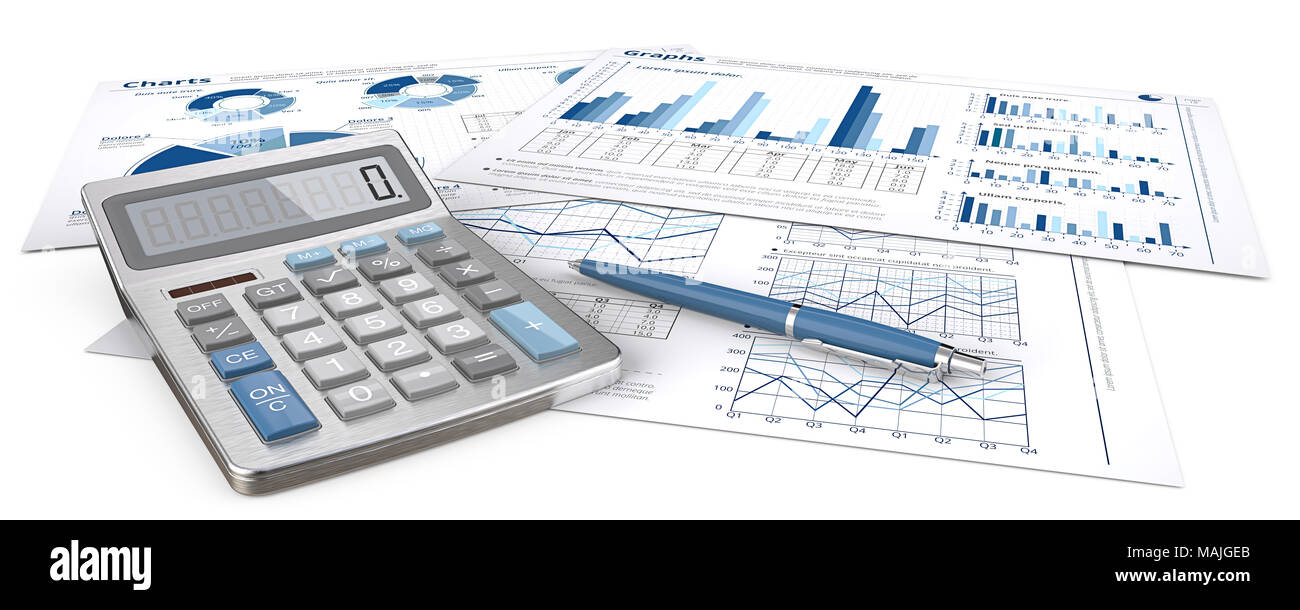 Infographics documents with graphs and pie charts on. Pen and Calculator. Blue theme and panorama. 3d Illustration - Stock Image