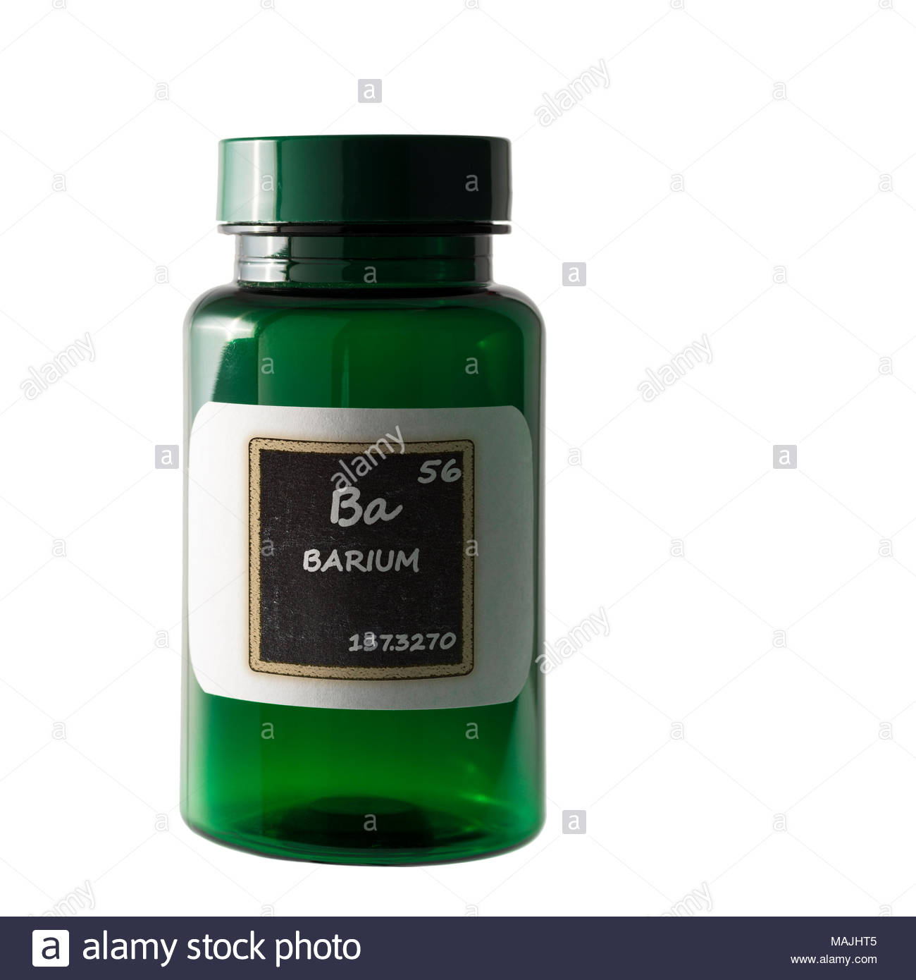 Barium, periodic table details  shown on bottle label. - Stock Image