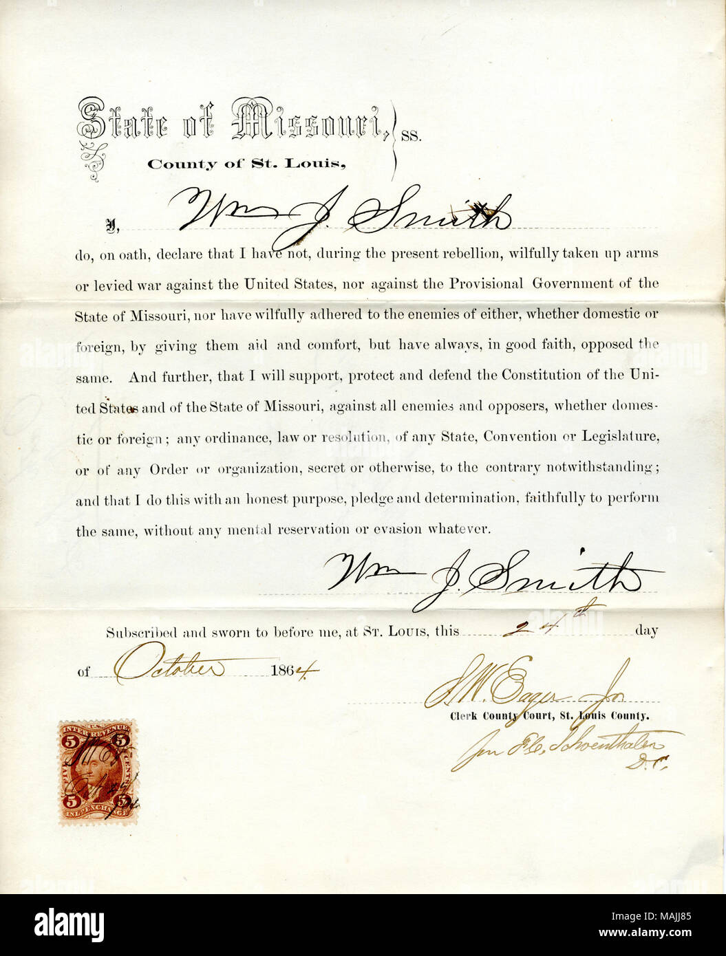 Swears oath of allegiance to the Government of the United States and the State of Missouri. Title: Loyalty oath of Wm. J. Smith of Missouri, County of St. Louis  . 24 October 1864. Smith, W.J. - Stock Image