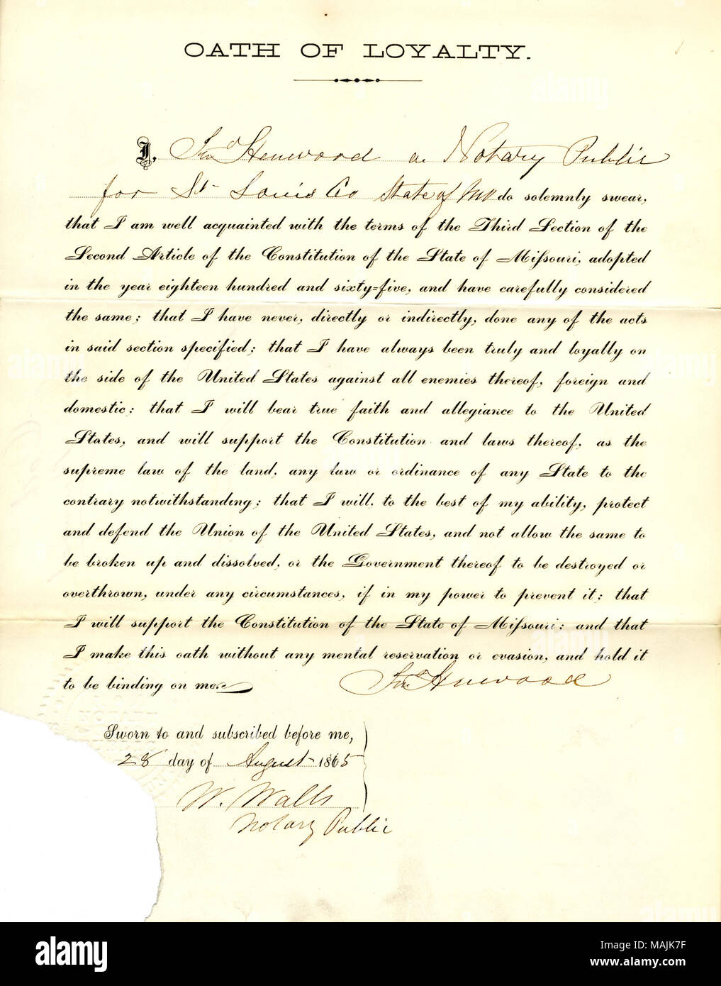 Swears oath of allegiance to the Government of the United States and the State of Missouri. Title: Loyalty oath of Jno. Henwood of Missouri, County of St. Louis  . 28 August 1865. Henwood, J. Stock Photo